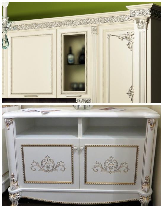 Использование молдингов в декоре мебельных фасадов помогут создать роскошный вид всему интерьеру. | Фото: mblx.ru.
