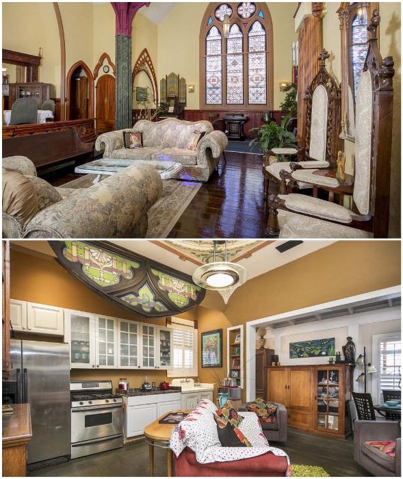 Викторианский стиль оформления преображенной церкви Святого Джона в помпезный отель можно увидеть и в гостиной, и на кухне (Вентура, Калифорния).