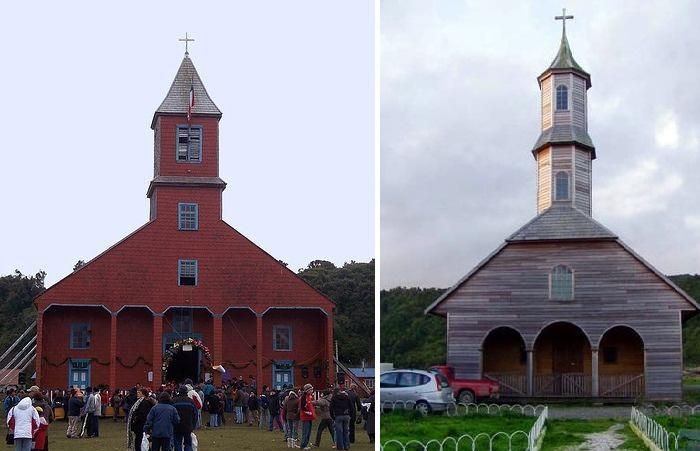 Церковь в Кагуач и храм в Сан-Хуан (Остров Чилоэ).