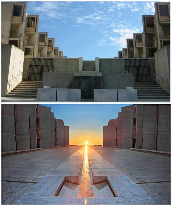 Фантастическая архитектура Института Солка, которую многие считают слишком футуристической. Архитектор Луис Кан, Калифорния. | Фото: uk.wikipedia.org.