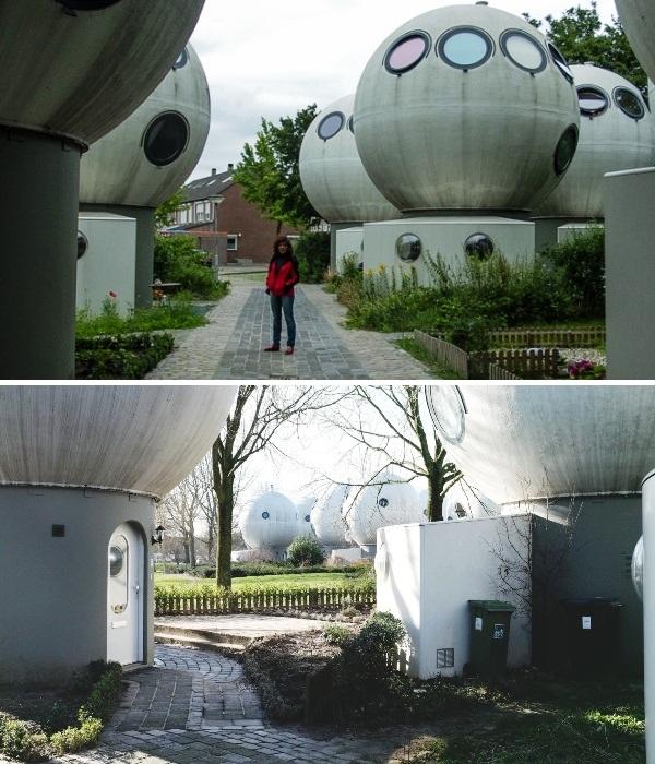 Необычный квартал разбит на небольшие улицы, и каждый дом-шар имеет свой маленький дворик (Bolwoningen, Hertogenbosch).   Фото: kucnisavjeti.com.