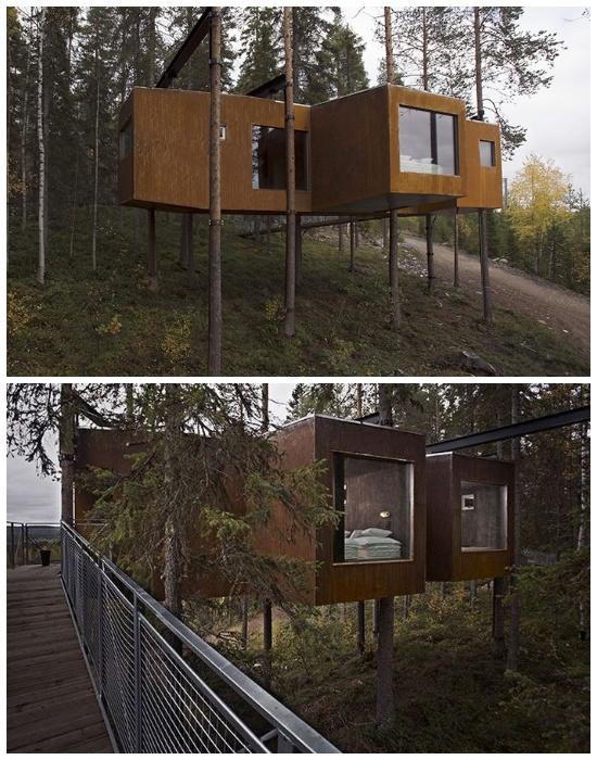 Деревянный домик «Dragonfly», напоминающий стрекозу имеет 30 кв. метров жилой площади (отель Treehotel, архитектурный проект Eggertsson Architects). | Фото: destinia.ru.