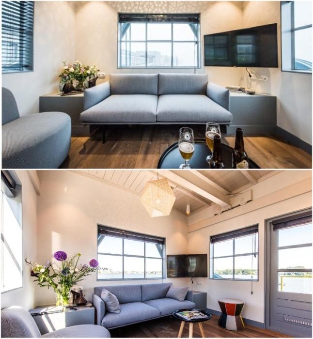 На первом этаже расположена уютная гостиная с мультимедийной системой (Yays Crane Apartment, Амстердам). | Фото: techcult.ru.