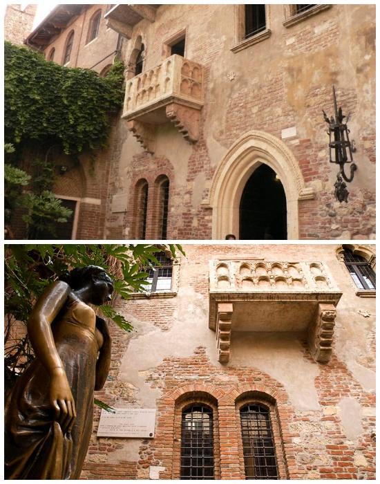 Дом однофамильцев Капулетти и пристроенный балкон вначале прошлого века выдают за дом Джульетты (Верона, Венеция).
