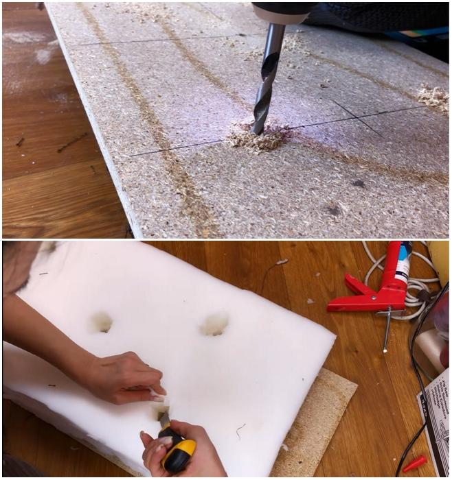 Для каретной стяжки на деревянном основании и поролоне нужно сделать отверстия в шахматном порядке. | Фото: youtube.com/ © Ko_ milla.