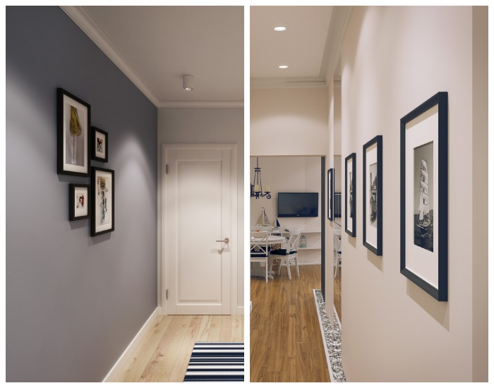 Задействование стен коридора с помощью картин и фотографий в рамках. | Фото: geometrium.com.