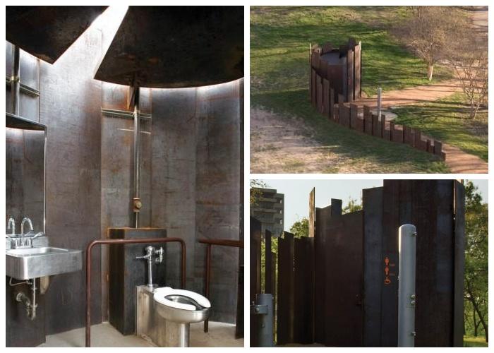 Странная конструкция общественного туалета компенсируется предоставляемыми возможностями (туалет Trail Restroom, США).
