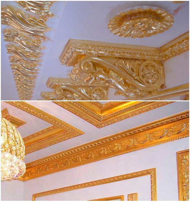 Золотая лепнина может восхищать только в старинных дворцах, а в современных квартирах подобное украшательство выглядит нелепо. | Фото: gessostar.ru.