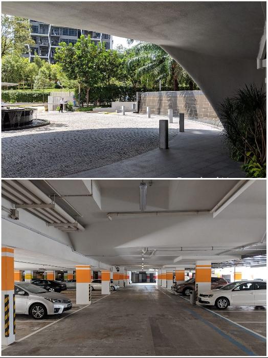 Подземная парковка для автомобилей («Tree House», Сингапур). | Фото: stackedhomes.com.