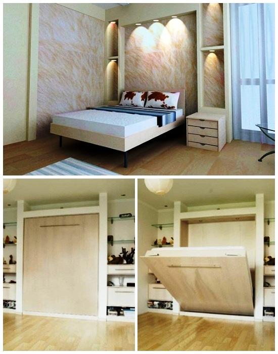 Нишей для откидной кровати может служить специальный шкаф или модульная система.