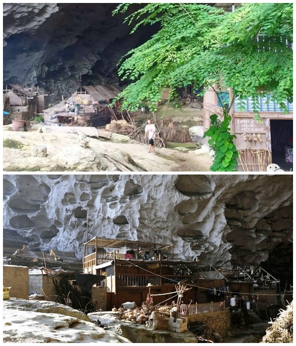 Только хижины, расположенные у входа в пещеру, имеют доступ к солнечному свету (Чжундун, Китай). | Фото: youtube.com.