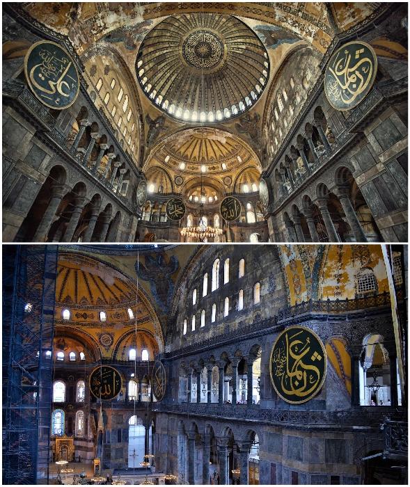 Собор Айя-София – единственная мечеть, где можно увидеть культовые каллиграфические медальоны. (Стамбул, Турция).
