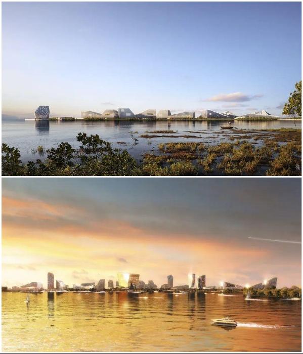 Водно-болотная местность вскоре превратится в город-будущего (концепт «Net City»). | Фото: archiposition.com/ © NBBJ.