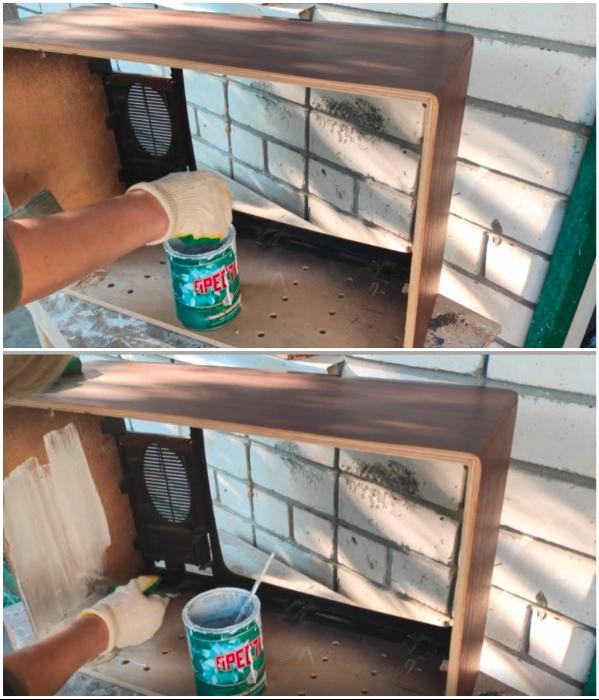 Внутреннюю часть каркаса, освобожденного от деталей, нужно покрасить краской. | Фото: youtube.com/ © Шебби-Шик.
