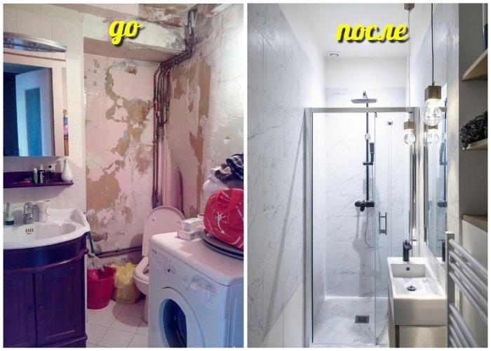 Преображение ванной комнаты до неузнаваемости.