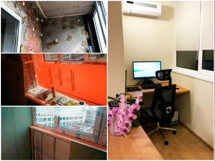 Если постараться, то с минимальными вложениями можно и лоджию превратить в комфортное рабочее место. | Фото: jemchyjinka.ru.