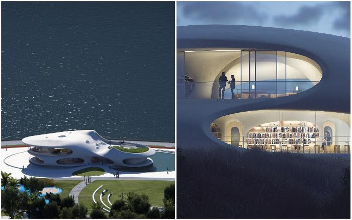 «Wormhole Library» будет выполнять функцию многофункционального культурного центра города Хайкоу (концепт, Китай).   Фото: newatlas.com/ © MAD Architects.