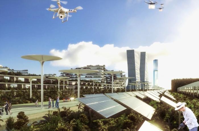 К изучению проблем устойчивости архитектуры и полной энергонезависимости будут привлекаться и местные жители (визуализация Smart Forest City, Мексика). | Фото: budport.com.ua.