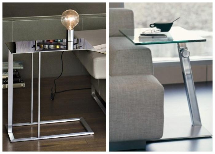 Приставной стол из металла и стекла, считаются более универсальными и современными.