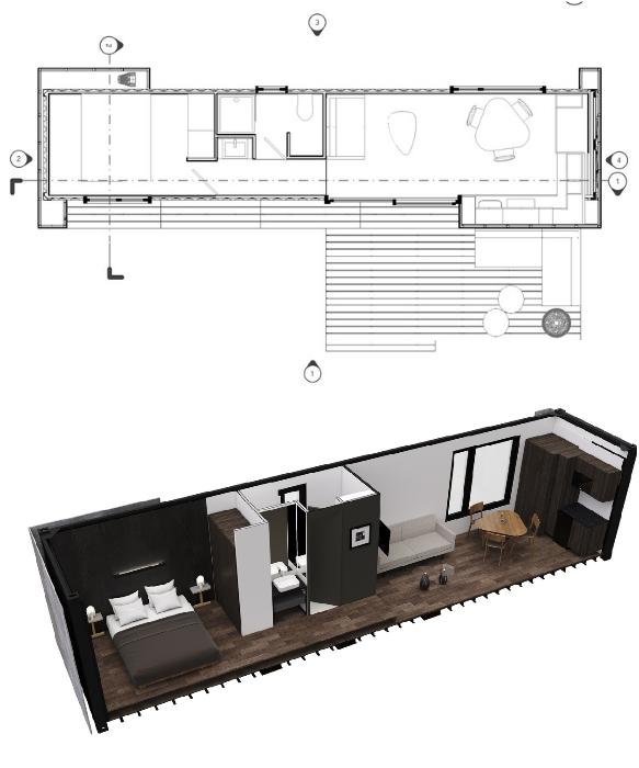 Проект контейнерного сборного дома VMD (проект Studioroca и Taller Escape). | Фото: architectsagainsthomelessness.com/ © Helioz Studio.