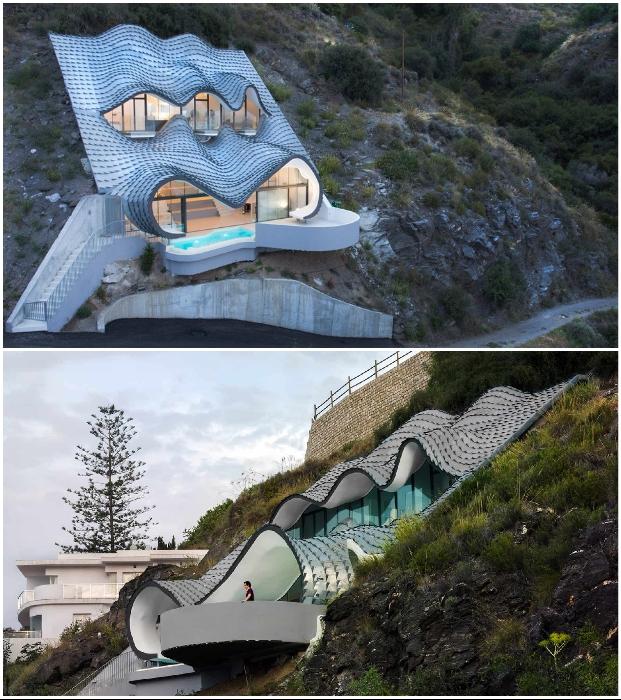 Футуристических форм особняк Casa del Acantilado идеально вписывается в скалистое морское побережье (Коста-Брава, Испания).