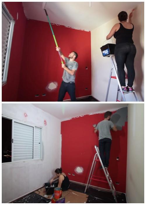 Стены и потолки пришлось по несколько раз перекрашивать и даже штукатурить.