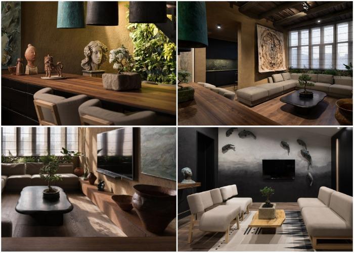 Эксклюзивные элементы декора и уникальная мебель украшают всю квартиру (Wabi Sabi Apartment).