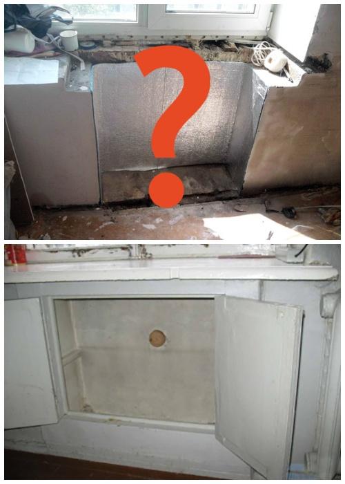Так выглядел бесплатный советский «холодильник», организованный под подоконником в кухне.