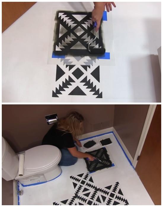 Рисунок получится идеальным, если выбрать трафарет по размеру и закрепить клейкой лентой. | Фото: hometalk.com.