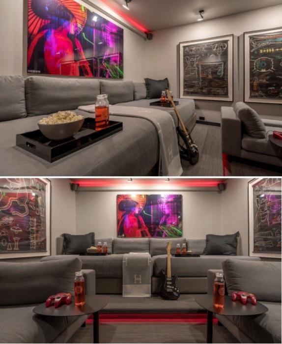 Диваны в виде шезлонгов стали не только удобным местом для просмотра кинофильмов, но и служат гостевой спальней (Флорида, США). | Фото: houzz.com.