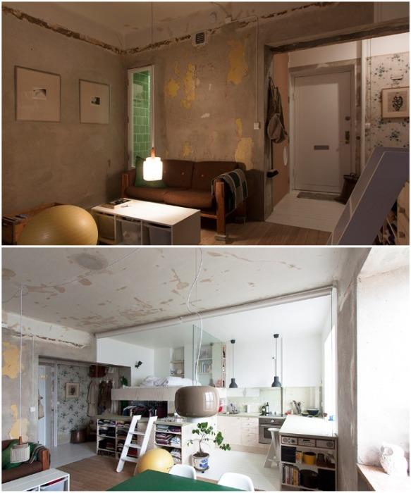 Провисающие провода и ободранные стены стали главным «украшением» той части квартиры, в которой преобладает стиль лофт. | Фото: contemporist.com.