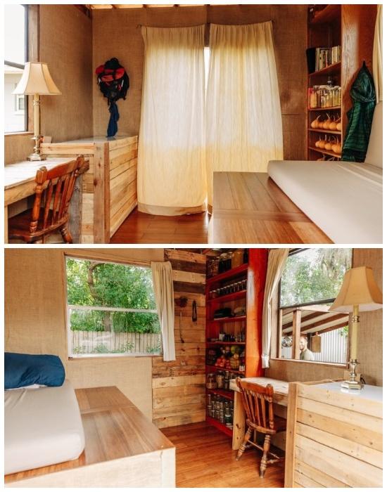 Интерьер и сам крошечный дом Роба Гринфилда создан исключительно из вторсырья или переработанных материалов («Teeny Greeny», США). | Фото: robgreenfield.tv.