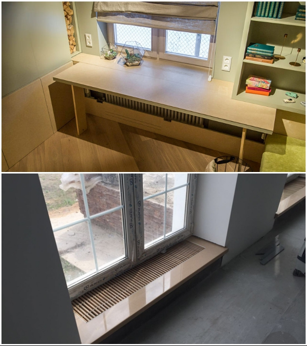 При создании встроенной мебели в зоне радиаторов отопления следует предусмотреть вентиляционные отверстия.