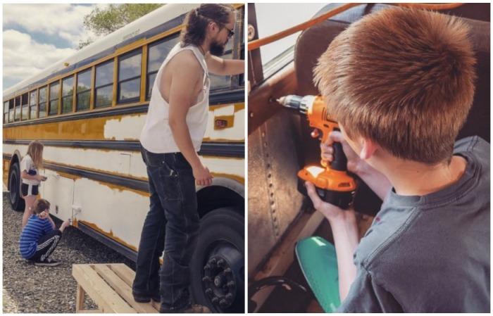И даже дети принимали участие в некоторых процессах отделки и покраски. | Фото: instagram.com/ sincewewokeup.