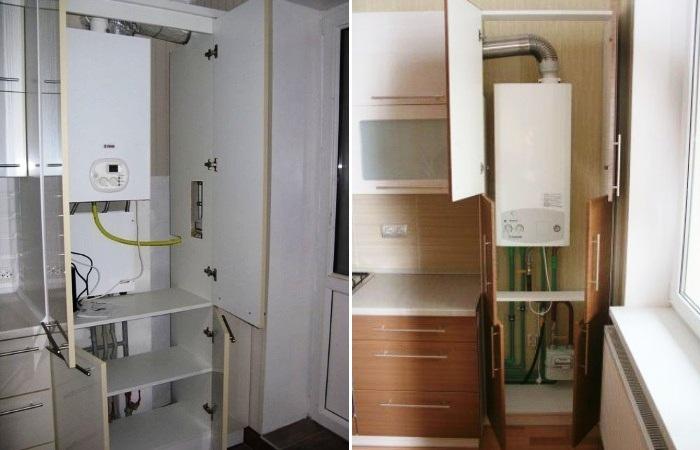 Большие газовые агрегаты лучше спрятать в полноценном шкафу. | Фото: mityaeva-mebel.ru.