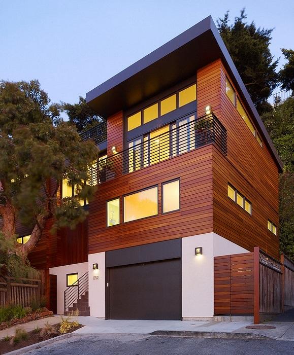 Дизайн фасада загородного дома из контейнеров.