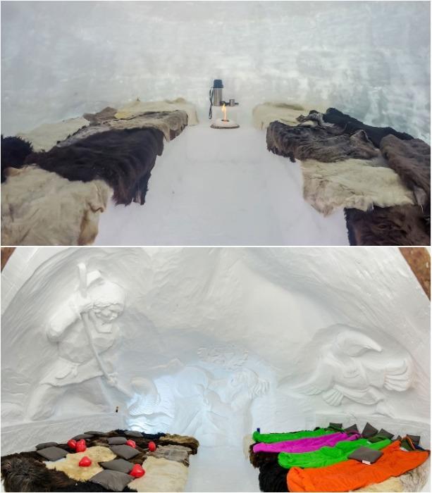 Изнутри иглу украшены барельефами с дикими северными животными и охотниками (Иглу-отель «Горная территория», Камчатка). | Фото: mir-vpechatleniy.ru
