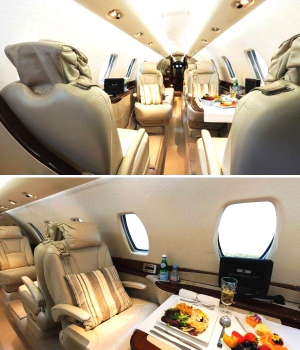 Каждый пассажир роскошного самолета обеспечен не только суперудобным креслом, но и индивидуальным медиадисплеем (салон Cessna Citation Sovereign). | Фото: prm.ua.