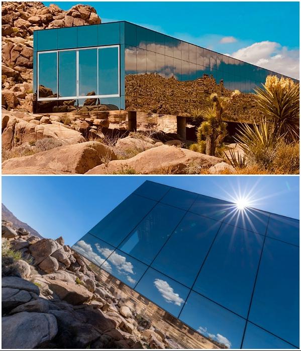 Огромные зеркальные панели сделаны из низкоэмиссионного стекла, чтобы уменьшить тепловую нагрузку («Invisible House», Joshua Tree). | Фото: hiconsumption.com.