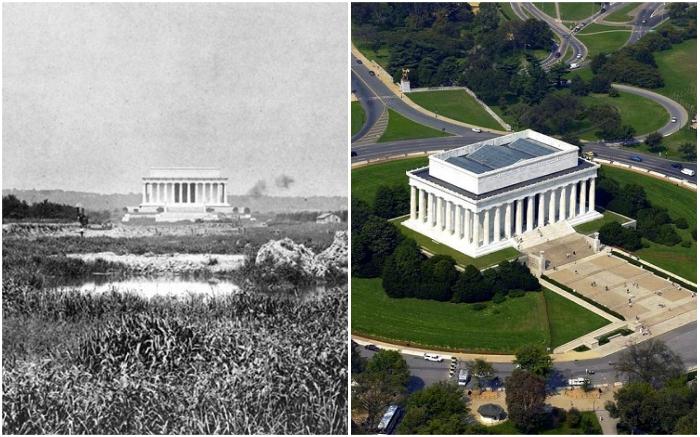 Мемориал Линкольна в 1917 г. и в наше время (Вашингтон, США). | Фото: putidorogi-nn.ru/ turizm.mirvokrugnas.com.