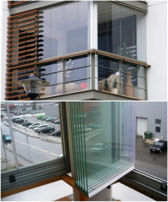 Пример безрамного остекления балконов. | Фото: remstroiblog.ru.