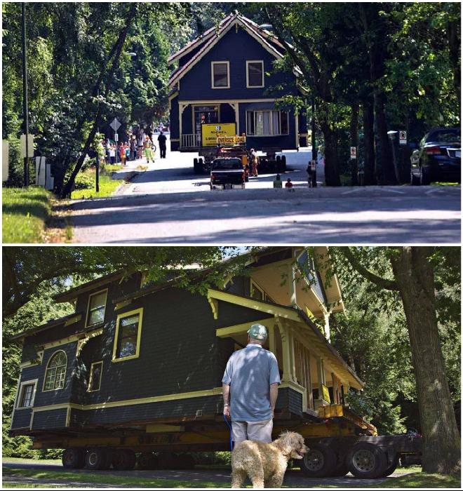«Путешествие» домов по улицам населенных пунктов всегда вызывает повышенный интерес (Union Bay, Британская Колумбия). © Andy Clark, Reuters.
