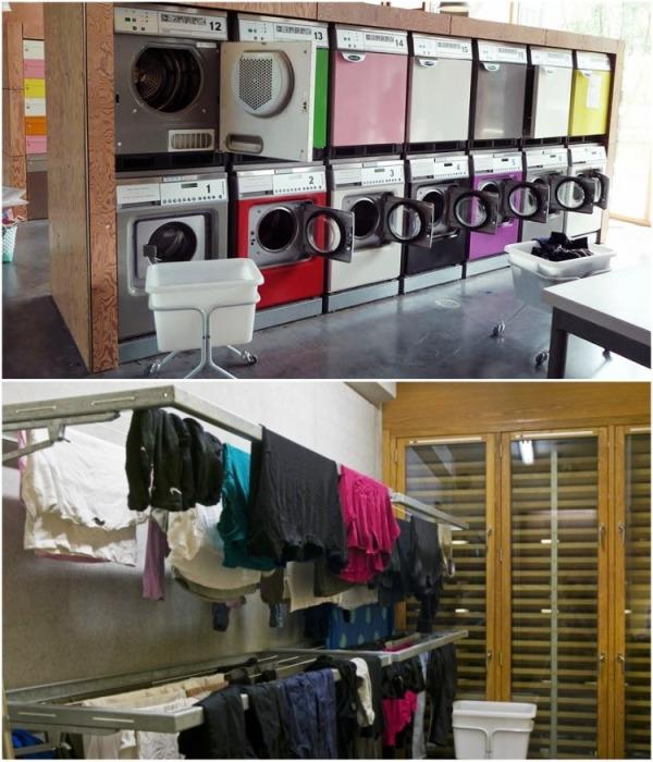 В студенческом общежитие есть просторная прачечная и специальные комнаты для просушки белья (Tietgenkollegiet, Копенгаген). | Фото: tietgenkollegiet.dk.