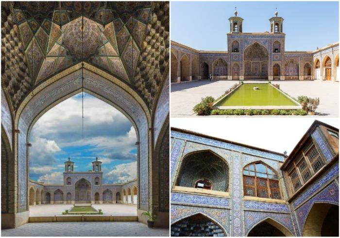 Экстерьер мечети не менее впечатляющий, чем интерьер святыни (Nasir al-Mulk, Иран). | Фото: commons.wikimedia.org.