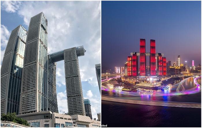 «Небесный мост», расположенный на высоте 250 м, входит в строящийся комплекс Raffles City Chongqing (проект архбюро Moshe Safdie). | Фото: tr.wikipedia.org/ realt.onliner.by.