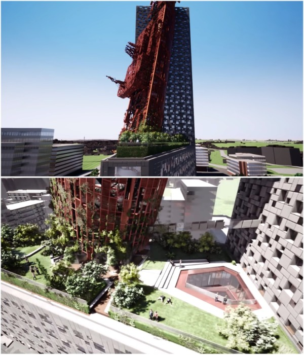 На крыше небоскреба разобьют парк, да и сам каркас корабля будет засажен живыми растениями (визуализация Top Tower, Прага). | Фото: youtube.com/ Trigema a.s.