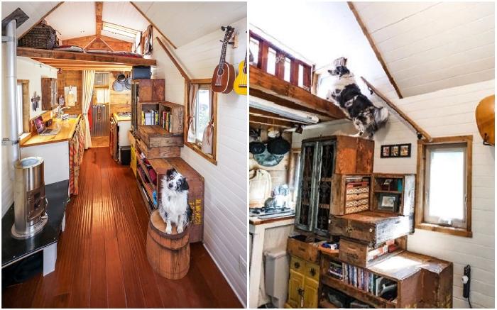 Чтобы попасть в спальню, нужно подняться по укрепленным ящикам, сложенным в виде ступенек лестницы (Tiny House Giant).