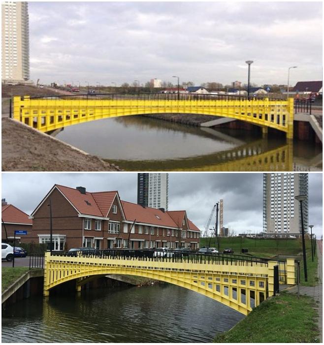 Металлический желтый мост одинаково хорошо выглядит и на фоне современных высоток, и возле коттеджей (Spijkenisse, Голландия). | Фото: m.fotostrana.ru/ boredpanda.com.