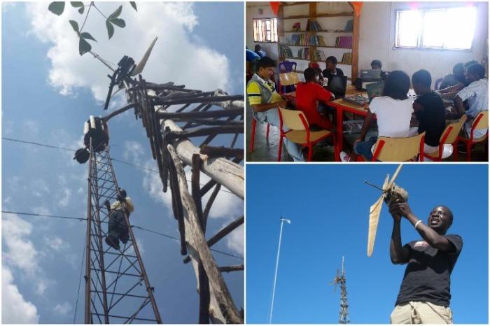 Молодой человек не только установил новые ветряки, позволившие электрифицировать всю деревню, но и помогает школе. | Фото: kickstarter.com.