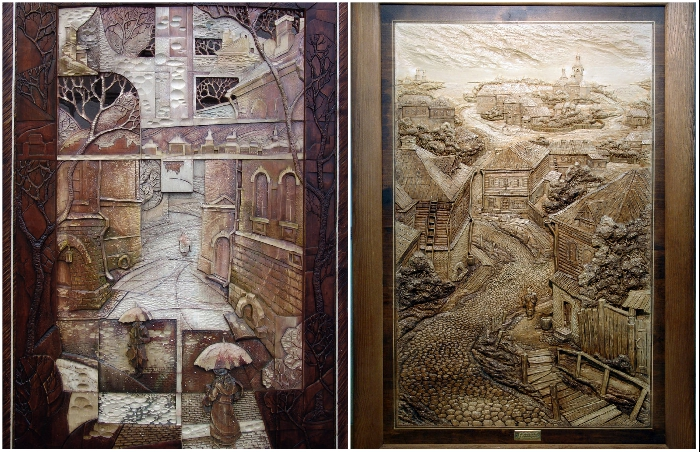 Сложно поверить, что эти картины делались только с помощью резца и на обычном дереве (авторские работы художественной мастерской Виктора Дубовика). | Фото: artbench.livejournal.com.